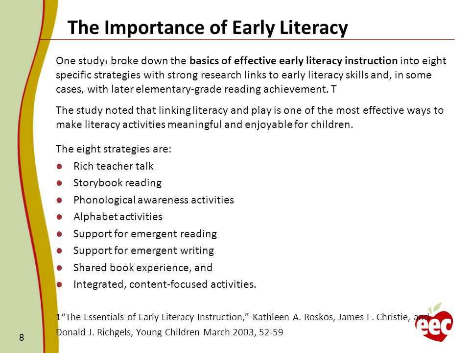 8 One study 1 broke down the basics of effective early literacy instruction into eight specific strategies with strong research links to early literac
