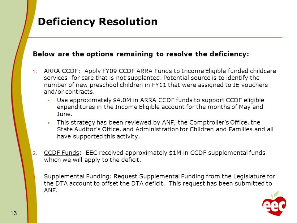 Deficiency Resolution 13 Below are the options remaining to resolve the deficiency: 1.