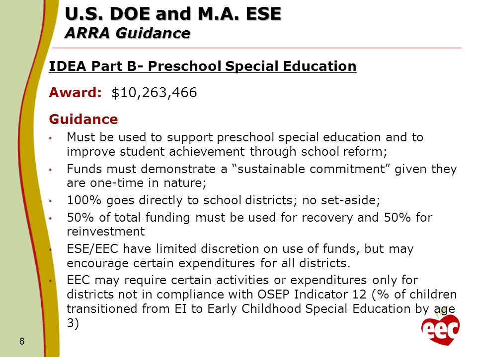 U.S. DOE and M.A. ESE ARRA Guidance IDEA Part B- Preschool Special Education Award: $10,263,466 Guidance Must be used to support preschool special edu