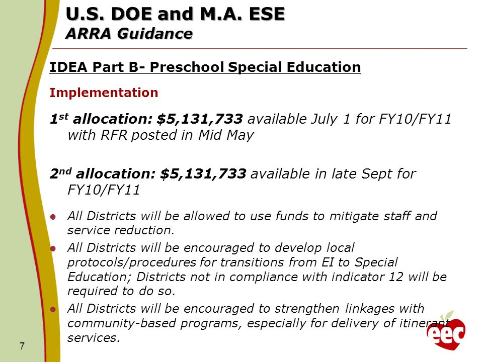 U.S. DOE and M.A. ESE ARRA Guidance IDEA Part B- Preschool Special Education Implementation 1 st allocation: $5,131,733 available July 1 for FY10/FY11