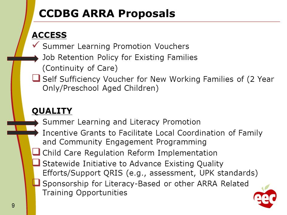 CCDBG ARRA Proposals ACCESS Summer Learning Promotion Vouchers Job Retention Policy for Existing Families (Continuity of Care) Self Sufficiency Voucher for New Working Families of (2 Year Only/Preschool Aged Children) QUALITY Summer Learning and Literacy Promotion Incentive Grants to Facilitate Local Coordination of Family and Community Engagement Programming Child Care Regulation Reform Implementation Statewide Initiative to Advance Existing Quality Efforts/Support QRIS (e.g., assessment, UPK standards) Sponsorship for Literacy-Based or other ARRA Related Training Opportunities 9
