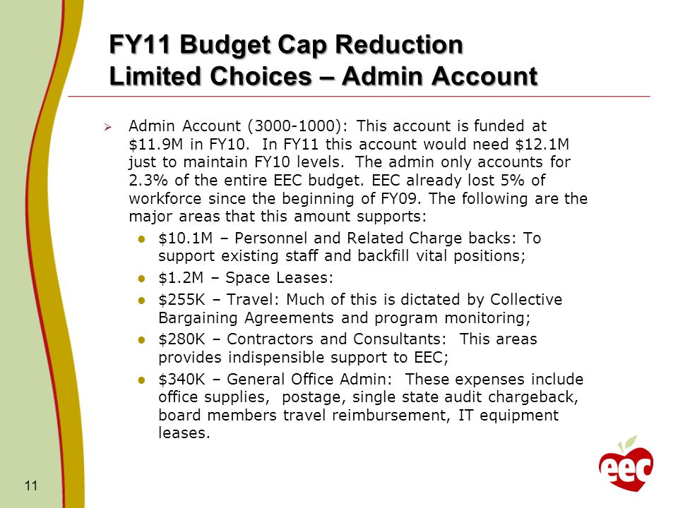 FY11 Budget Cap Reduction Limited Choices – Admin Account Admin Account (3000-1000): This account is funded at $11.9M in FY10.