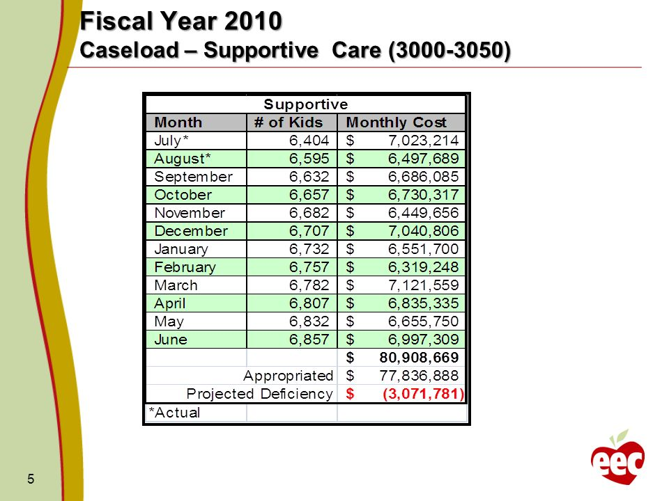 5 Fiscal Year 2010 Caseload – Supportive Care (3000-3050)