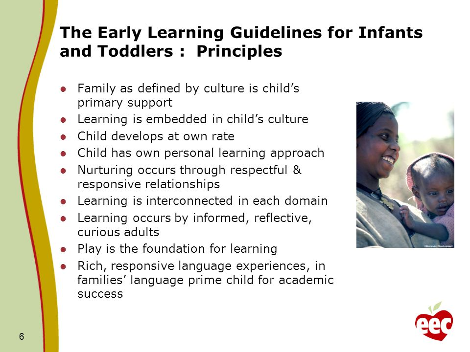 The Early Learning Guidelines for Infants and Toddlers : Principles Family as defined by culture is childs primary support Learning is embedded in childs culture Child develops at own rate Child has own personal learning approach Nurturing occurs through respectful & responsive relationships Learning is interconnected in each domain Learning occurs by informed, reflective, curious adults Play is the foundation for learning Rich, responsive language experiences, in families language prime child for academic success 6