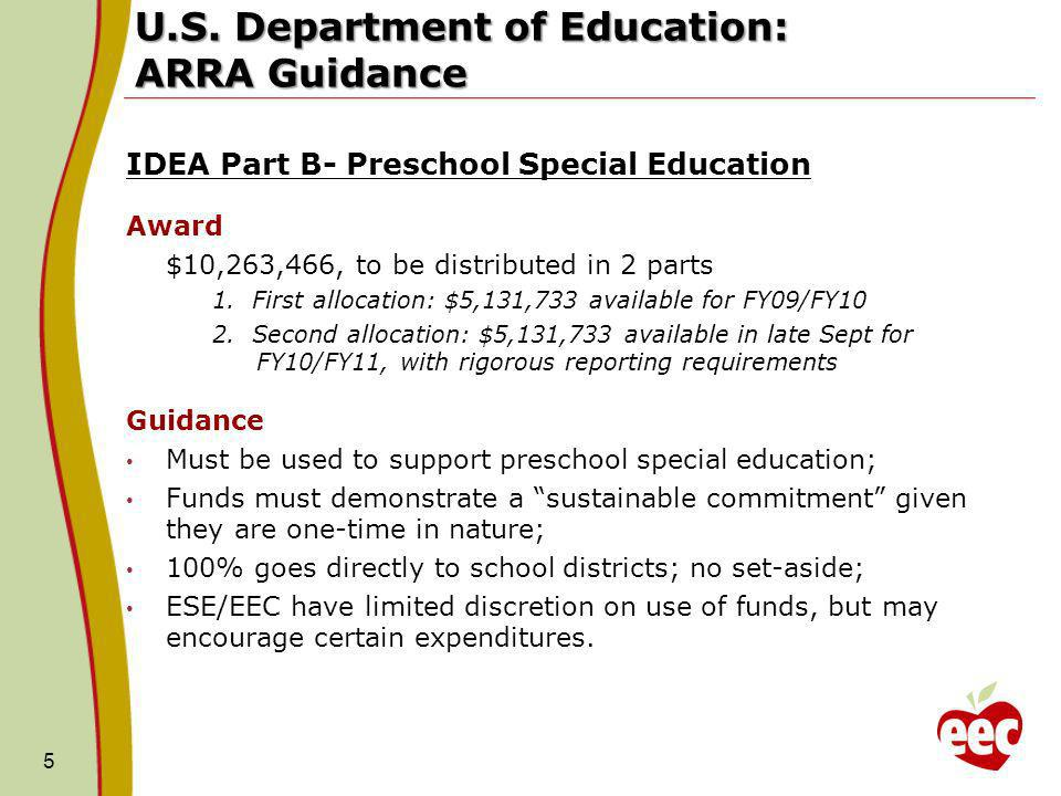 U.S. Department of Education: ARRA Guidance IDEA Part B- Preschool Special Education Award $10,263,466, to be distributed in 2 parts 1. First allocati