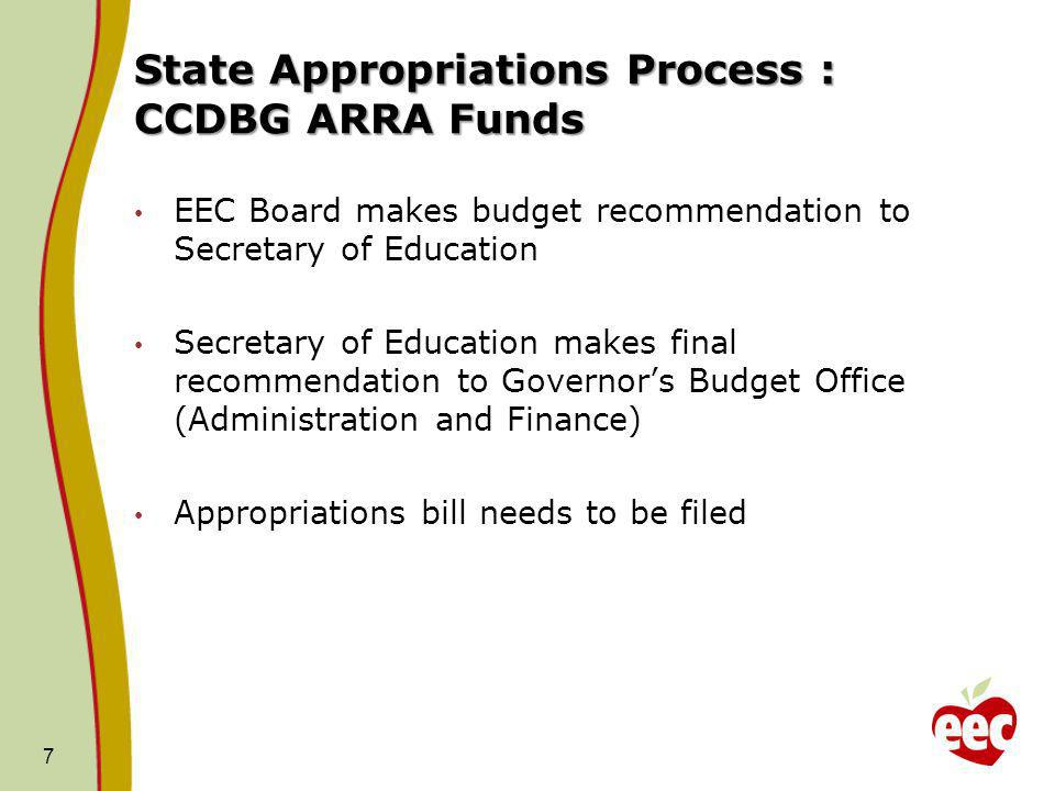 State Appropriations Process : CCDBG ARRA Funds EEC Board makes budget recommendation to Secretary of Education Secretary of Education makes final recommendation to Governors Budget Office (Administration and Finance) Appropriations bill needs to be filed 7