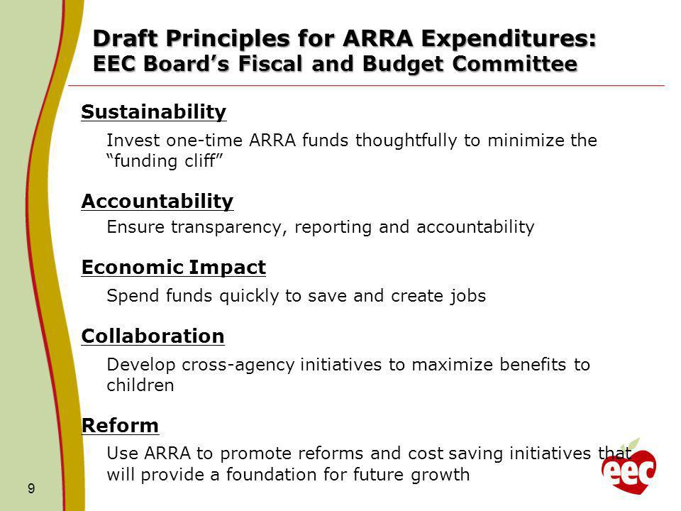 Draft Principles for ARRA Expenditures: EEC Boards Fiscal and Budget Committee Sustainability Invest one-time ARRA funds thoughtfully to minimize the funding cliff Accountability Ensure transparency, reporting and accountability Economic Impact Spend funds quickly to save and create jobs Collaboration Develop cross-agency initiatives to maximize benefits to children Reform Use ARRA to promote reforms and cost saving initiatives that will provide a foundation for future growth 9
