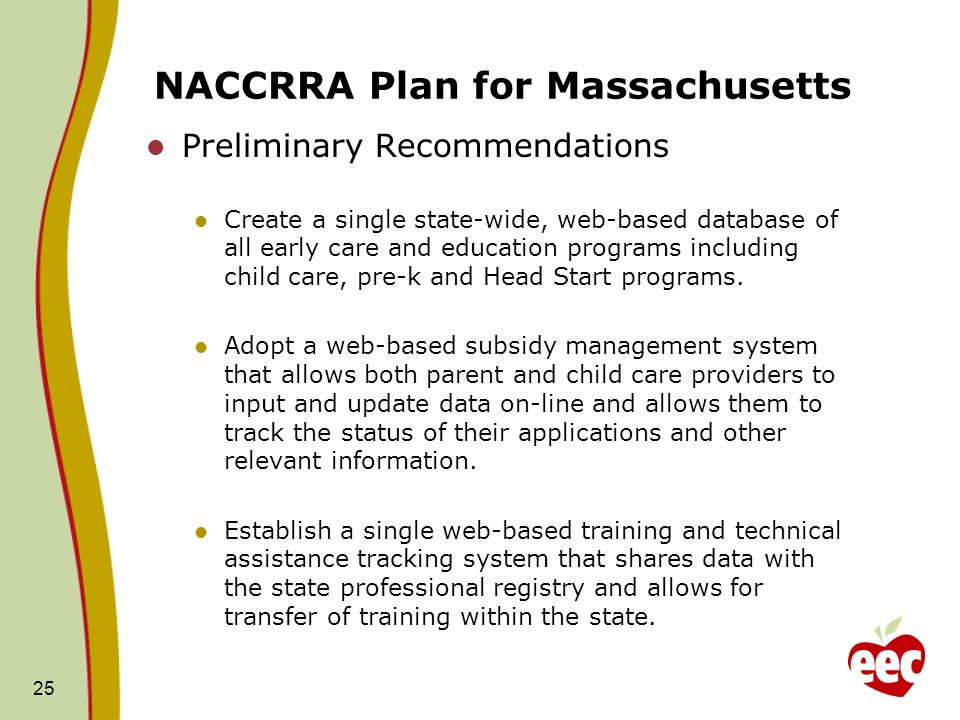 NACCRRA Plan for Massachusetts Preliminary Recommendations Create a single state-wide, web-based database of all early care and education programs inc