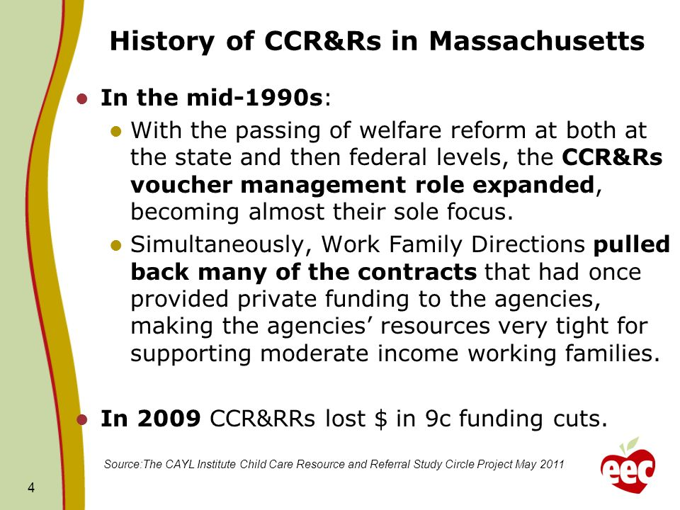 In the mid-1990s: With the passing of welfare reform at both at the state and then federal levels, the CCR&Rs voucher management role expanded, becoming almost their sole focus.