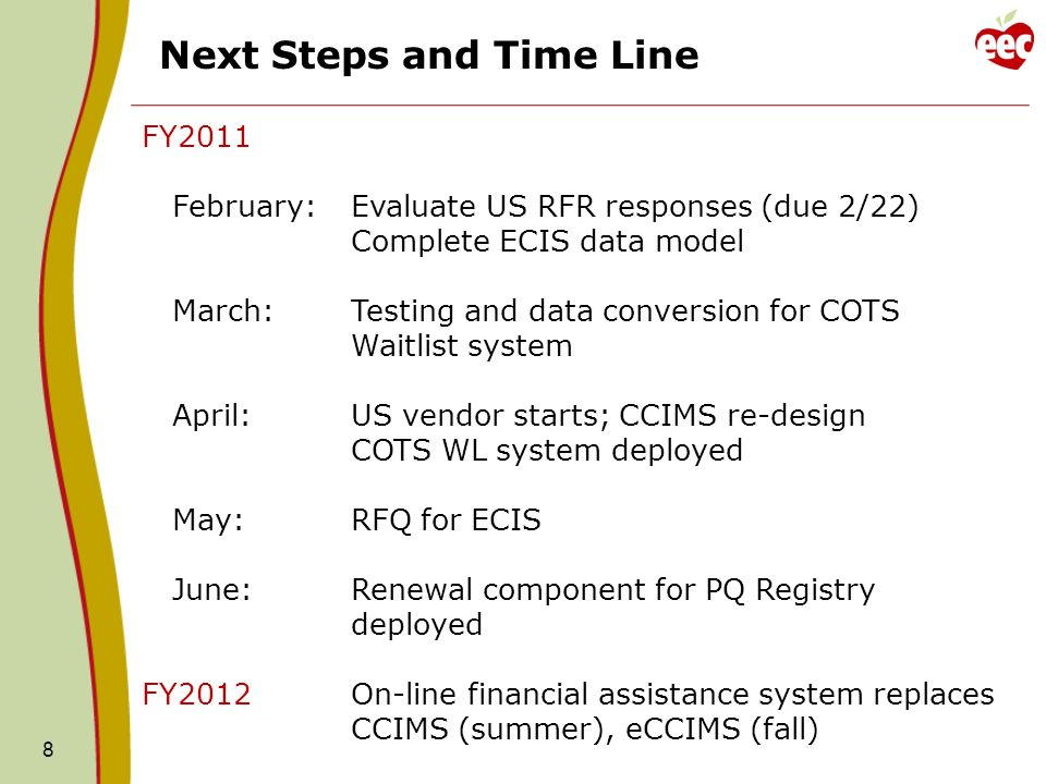 8 Next Steps and Time Line FY2011 February: Evaluate US RFR responses (due 2/22) Complete ECIS data model March:Testing and data conversion for COTS Waitlist system April:US vendor starts; CCIMS re-design COTS WL system deployed May:RFQ for ECIS June:Renewal component for PQ Registry deployed FY2012On-line financial assistance system replaces CCIMS (summer), eCCIMS (fall)