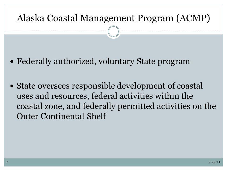 Alaska Coastal Management Program Program Changes and Improvements Enhancement Grants 2-22-1118