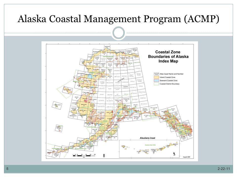 Alaska Coastal Management Program DCOM Administration and Implementation $2,512.6 total for DCOM administration and implementation $840.0 federal $1,672.6 general fund match DCOM provides the additional required match for municipalities (50%) and service areas (80%) 2-22-119