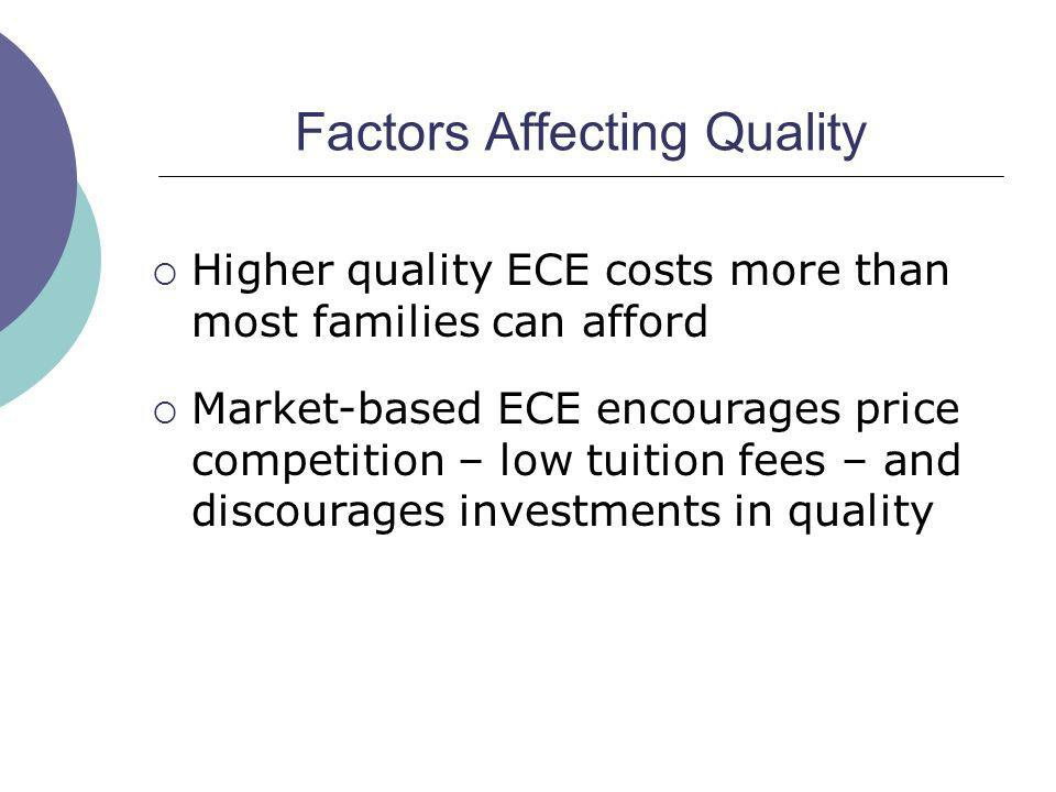 Factors Affecting Quality Higher quality ECE costs more than most families can afford Market-based ECE encourages price competition – low tuition fees – and discourages investments in quality