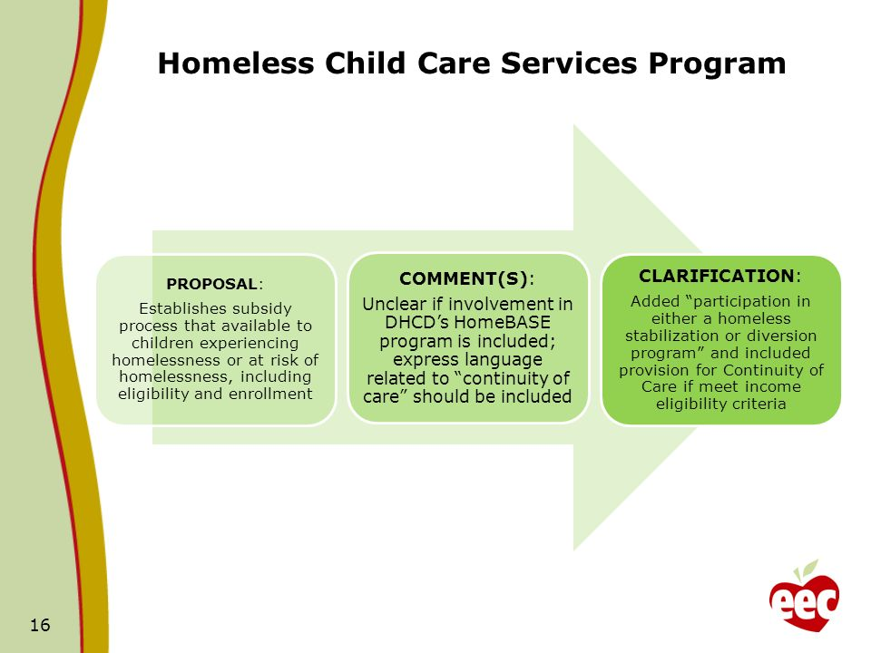 Homeless Child Care Services Program PROPOSAL: Establishes subsidy process that available to children experiencing homelessness or at risk of homelessness, including eligibility and enrollment COMMENT(S): Unclear if involvement in DHCDs HomeBASE program is included; express language related to continuity of care should be included CLARIFICATION: Added participation in either a homeless stabilization or diversion program and included provision for Continuity of Care if meet income eligibility criteria 16