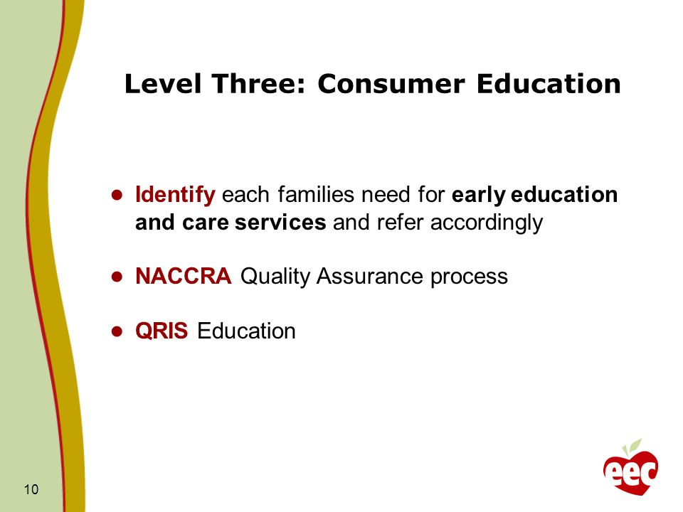 Level Three: Consumer Education 10 Identify each families need for early education and care services and refer accordingly NACCRA Quality Assurance pr