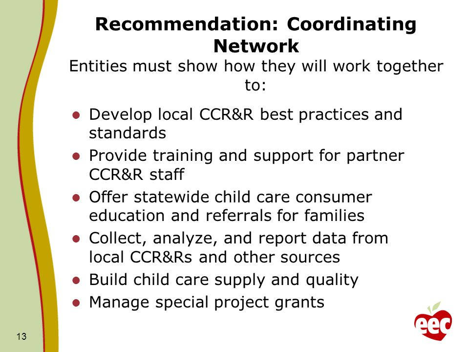 Recommendation: Coordinating Network Entities must show how they will work together to: Develop local CCR&R best practices and standards Provide train