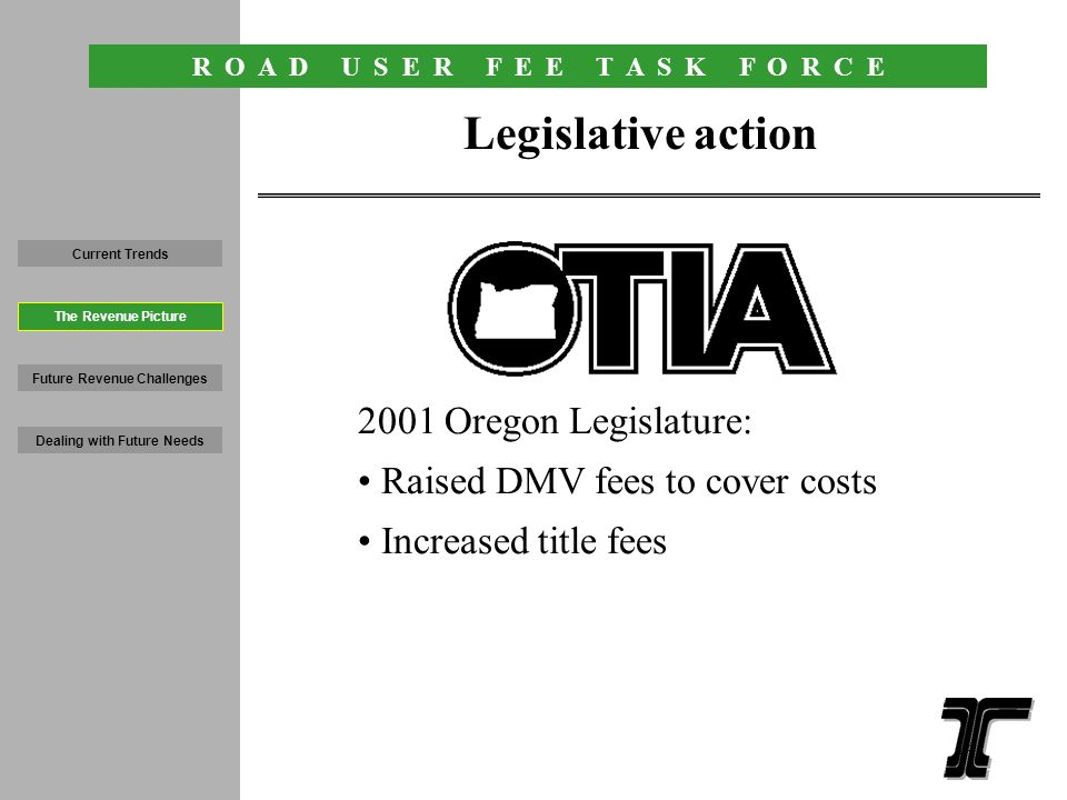 R O A D U S E R F E E T A S K F O R C E 13 Oregon fuel and auto taxes among lowest in nation October 2001 Current Trends Future Revenue Challenges Dealing with Future Needs The Revenue Picture