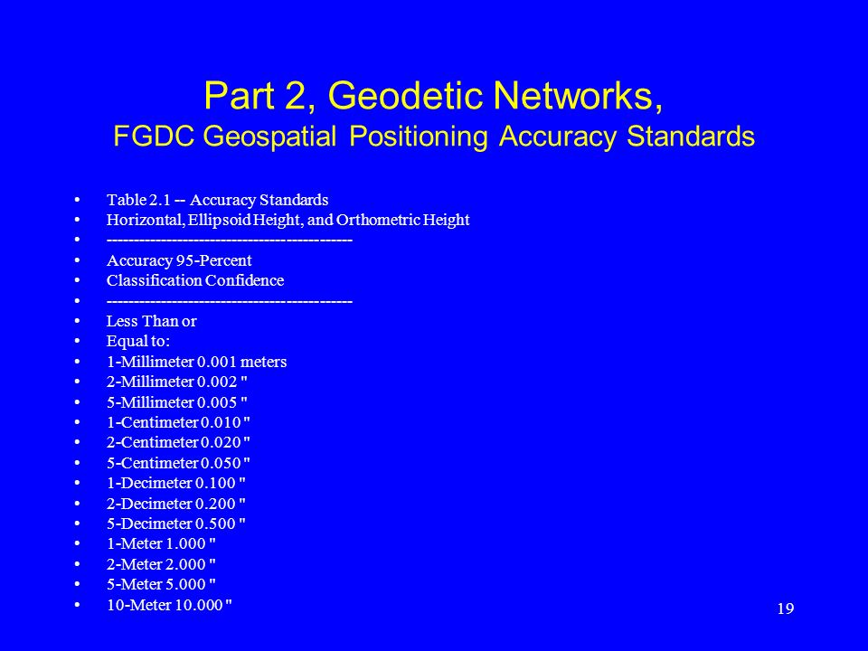 19 Part 2, Geodetic Networks, FGDC Geospatial Positioning Accuracy Standards Table 2.1 -- Accuracy Standards Horizontal, Ellipsoid Height, and Orthome