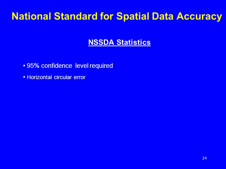24 National Standard for Spatial Data Accuracy NSSDA Statistics 95% confidence level required Horizontal circular error