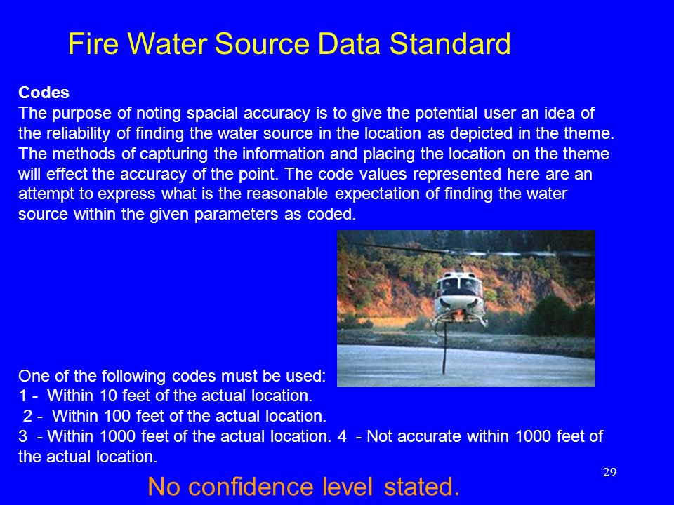 29 Codes The purpose of noting spacial accuracy is to give the potential user an idea of the reliability of finding the water source in the location a