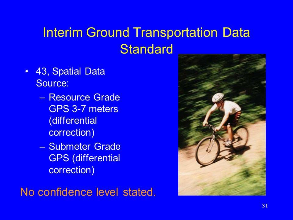 31 Interim Ground Transportation Data Standard 43, Spatial Data Source: –Resource Grade GPS 3-7 meters (differential correction) –Submeter Grade GPS (