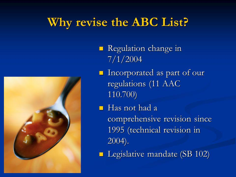 Why revise the ABC List.