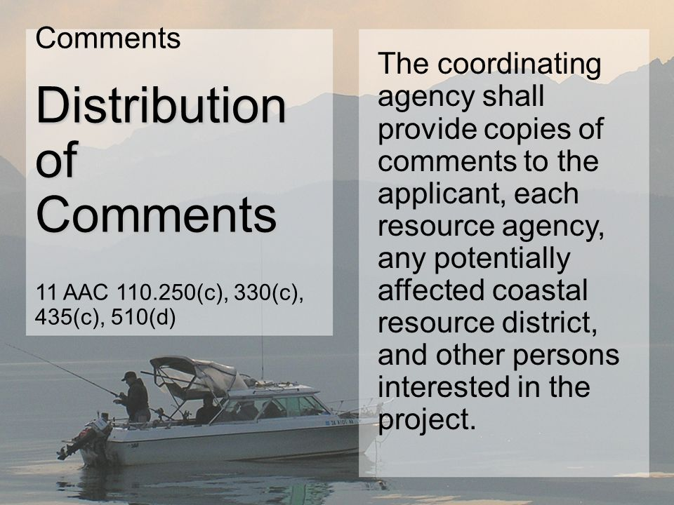 The coordinating agency shall provide copies of comments to the applicant, each resource agency, any potentially affected coastal resource district, and other persons interested in the project.
