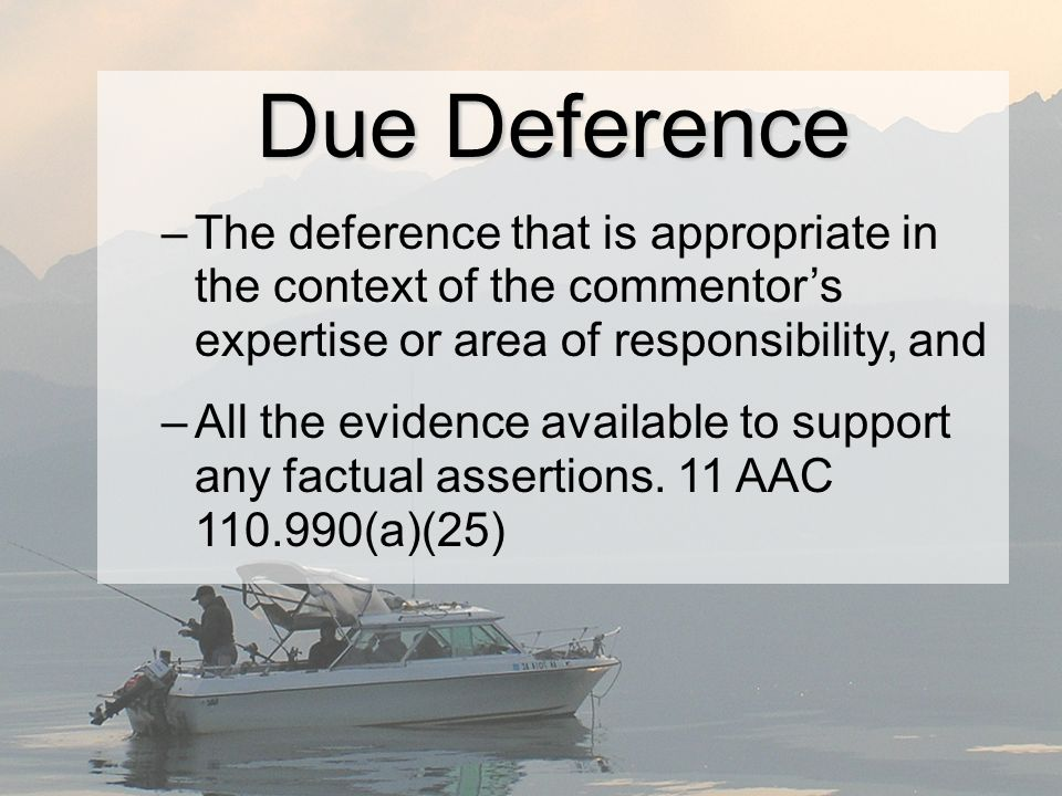 Due Deference –The deference that is appropriate in the context of the commentors expertise or area of responsibility, and –All the evidence available to support any factual assertions.