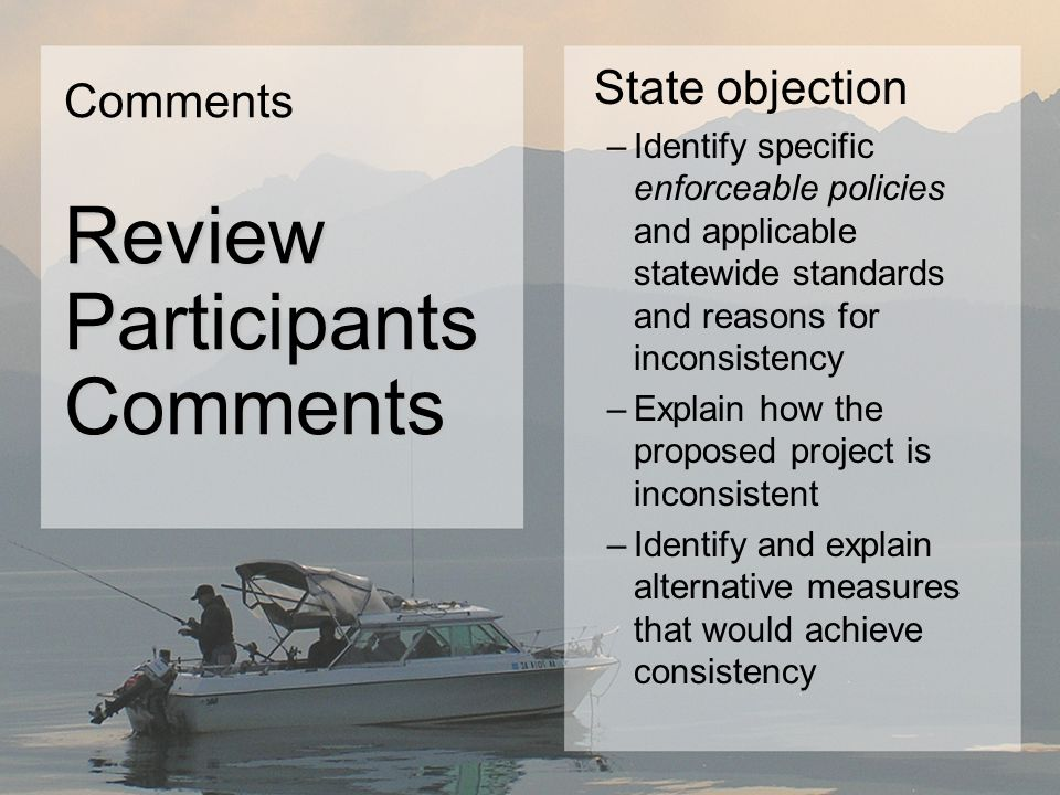State objection –Identify specific enforceable policies and applicable statewide standards and reasons for inconsistency –Explain how the proposed project is inconsistent –Identify and explain alternative measures that would achieve consistency Comments Review Participants Review ParticipantsComments