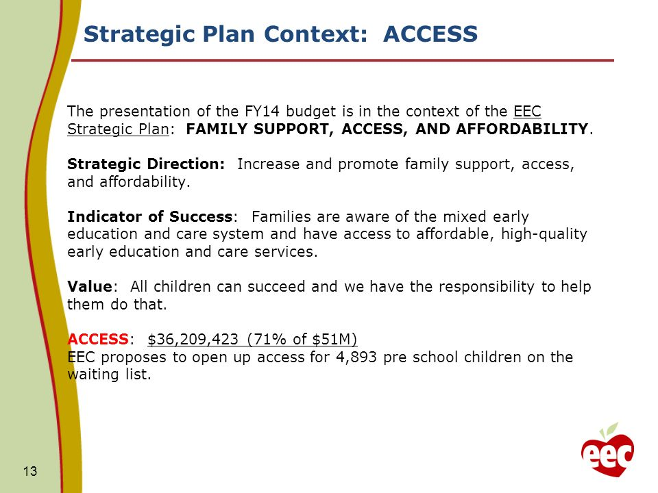 Strategic Plan Context: ACCESS The presentation of the FY14 budget is in the context of the EEC Strategic Plan: FAMILY SUPPORT, ACCESS, AND AFFORDABILITY.