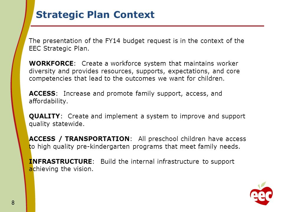 Strategic Plan Context: Investment in Workforce Quality The presentation of the FY14 budget is in the context of the EEC Strategic Plan: WORKFORCE.
