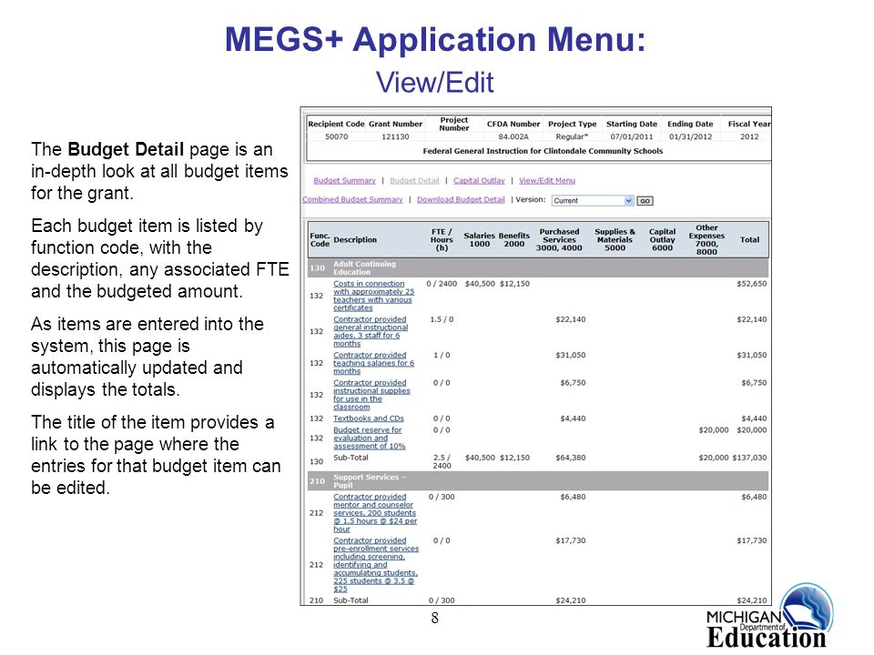 8 MEGS+ Application Menu: View/Edit The Budget Detail page is an in-depth look at all budget items for the grant. Each budget item is listed by functi