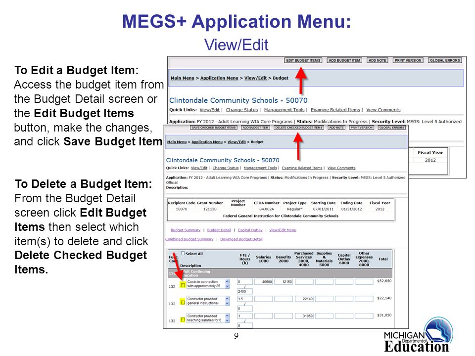 9 MEGS+ Application Menu: View/Edit To Edit a Budget Item: Access the budget item from the Budget Detail screen or the Edit Budget Items button, make