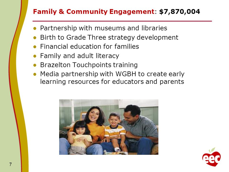 7 Family & Community Engagement: $7,870,004 Partnership with museums and libraries Birth to Grade Three strategy development Financial education for families Family and adult literacy Brazelton Touchpoints training Media partnership with WGBH to create early learning resources for educators and parents