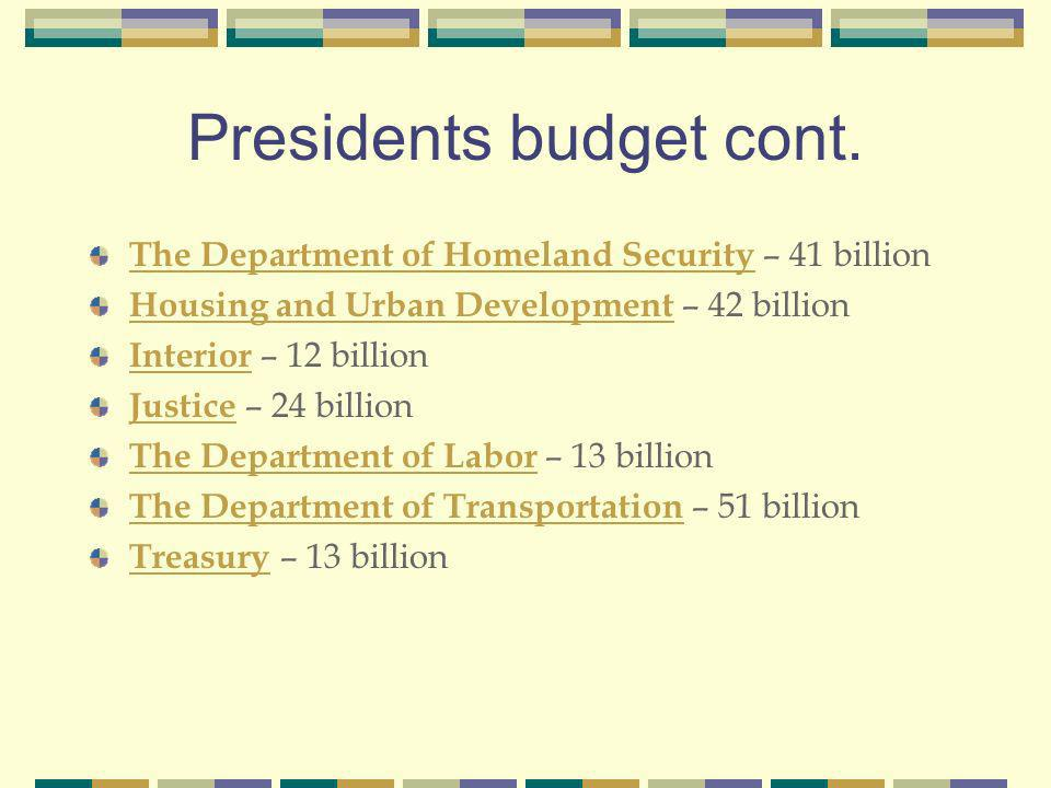 Presidents budget cont.