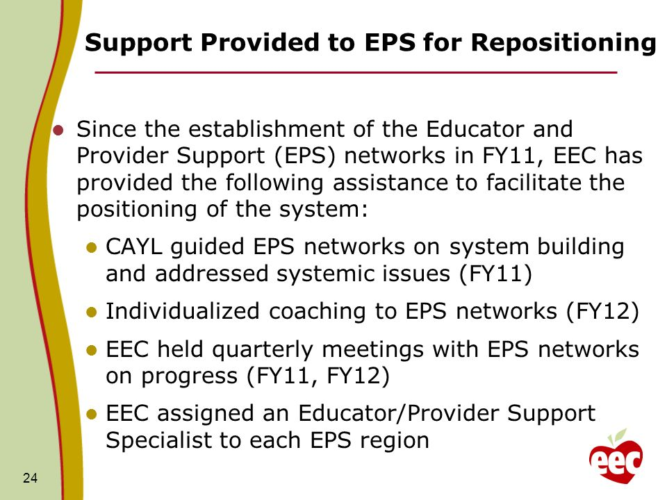 Support Provided to EPS for Repositioning Since the establishment of the Educator and Provider Support (EPS) networks in FY11, EEC has provided the following assistance to facilitate the positioning of the system: CAYL guided EPS networks on system building and addressed systemic issues (FY11) Individualized coaching to EPS networks (FY12) EEC held quarterly meetings with EPS networks on progress (FY11, FY12) EEC assigned an Educator/Provider Support Specialist to each EPS region 24