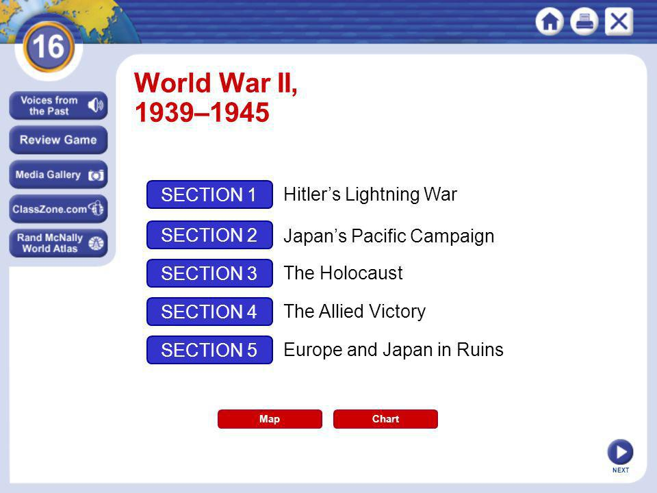 NEXT World War II, 1939–1945 Map SECTION 1 SECTION 2 SECTION 3 SECTION 4 Hitlers Lightning War Japans Pacific Campaign The Holocaust The Allied Victor