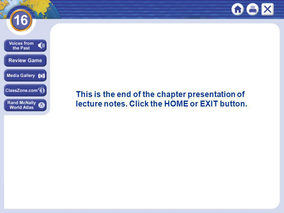 This is the end of the chapter presentation of lecture notes. Click the HOME or EXIT button.