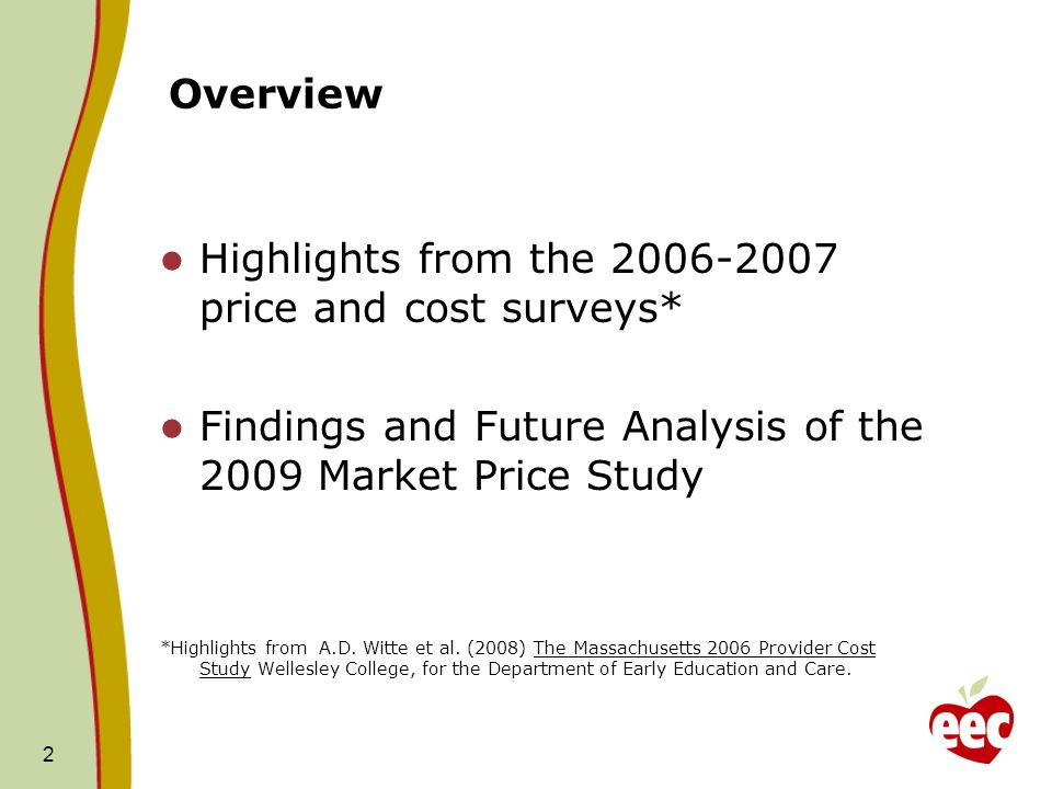 Overview Highlights from the 2006-2007 price and cost surveys* Findings and Future Analysis of the 2009 Market Price Study *Highlights from A.D. Witte