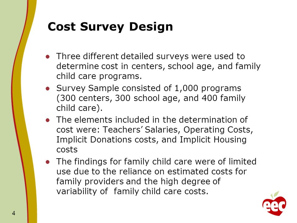 Cost Survey Design Three different detailed surveys were used to determine cost in centers, school age, and family child care programs. Survey Sample