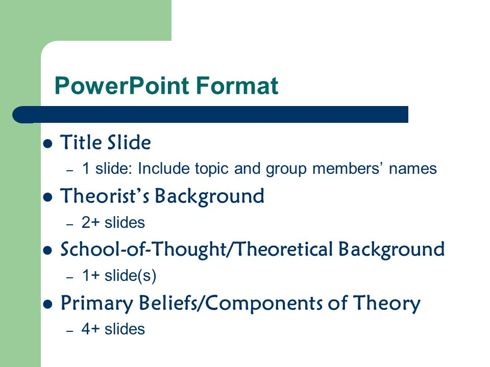 Format…continued Related Theories – 1+ slide(s) Strengths and Weaknesses – 1+ slide(s) Theory-in-Action – 1+ slide(s) References/Works Cited – 1+ slide(s) TOTAL PACKAGE: – 12+ SLIDES