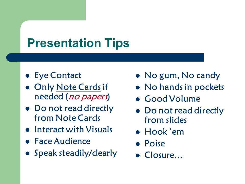 Group Presentation Grading Depth/Accuracy of Content Creativity Quality of PowerPoint presentation Voice Eye Contact Misc.