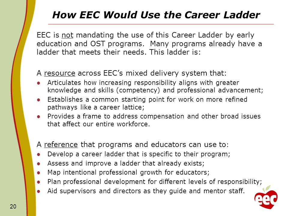 How EEC Would Use the Career Ladder EEC is not mandating the use of this Career Ladder by early education and OST programs.