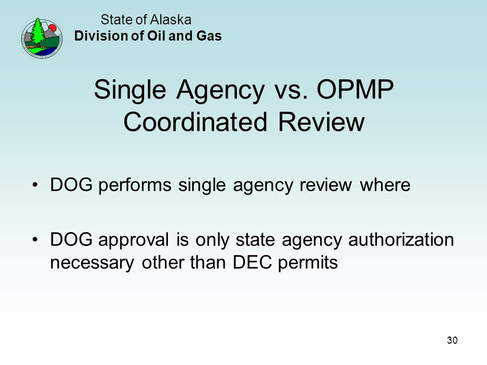 State of Alaska Division of Oil and Gas 30 Single Agency vs.