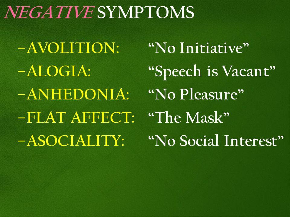 NEGATIVE SYMPTOMS – AVOLITION: No Initiative – ALOGIA: Speech is Vacant – ANHEDONIA: No Pleasure – FLAT AFFECT: The Mask – ASOCIALITY: No Social Inter