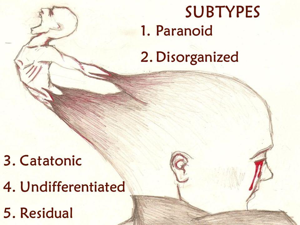 SUBTYPES 3. Catatonic 4. Undifferentiated 5. Residual 1.Paranoid 2.Disorganized