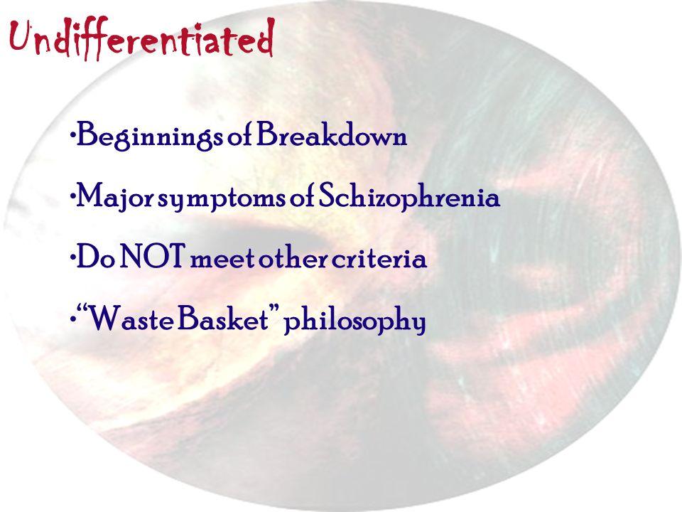 Undifferentiated Beginnings of Breakdown Major symptoms of Schizophrenia Do NOT meet other criteria Waste Basket philosophy