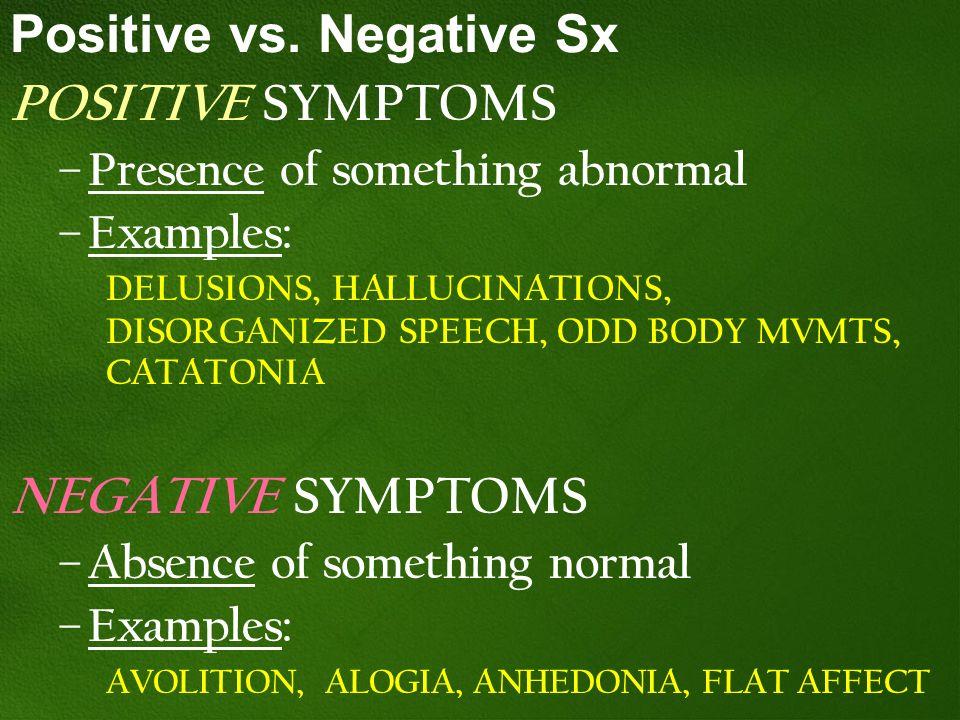 Positive vs. Negative Sx POSITIVE SYMPTOMS – Presence of something abnormal – Examples: DELUSIONS, HALLUCINATIONS, DISORGANIZED SPEECH, ODD BODY MVMTS