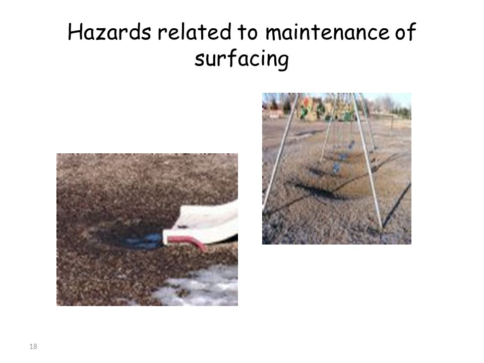 18 Hazards related to maintenance of surfacing