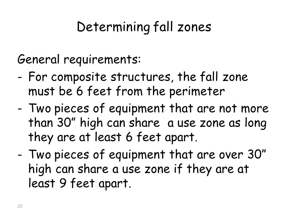 20 Determining fall zones General requirements: -For composite structures, the fall zone must be 6 feet from the perimeter -Two pieces of equipment that are not more than 30 high can share a use zone as long they are at least 6 feet apart.